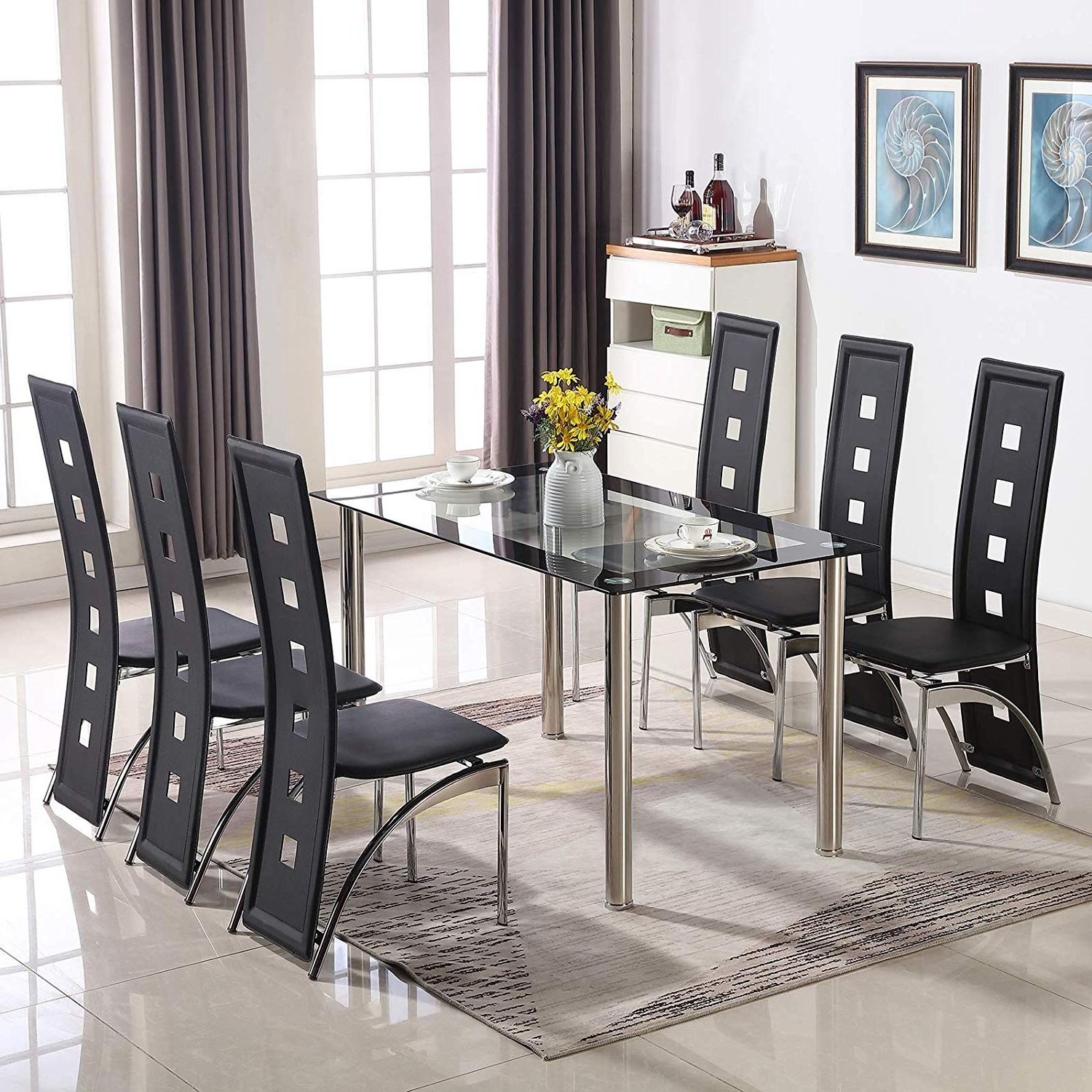 Well Known Glass Dining Tables With Metal Legs In Kitchen & Dining Tables Modern Black&clear Tempered Glass (View 21 of 25)