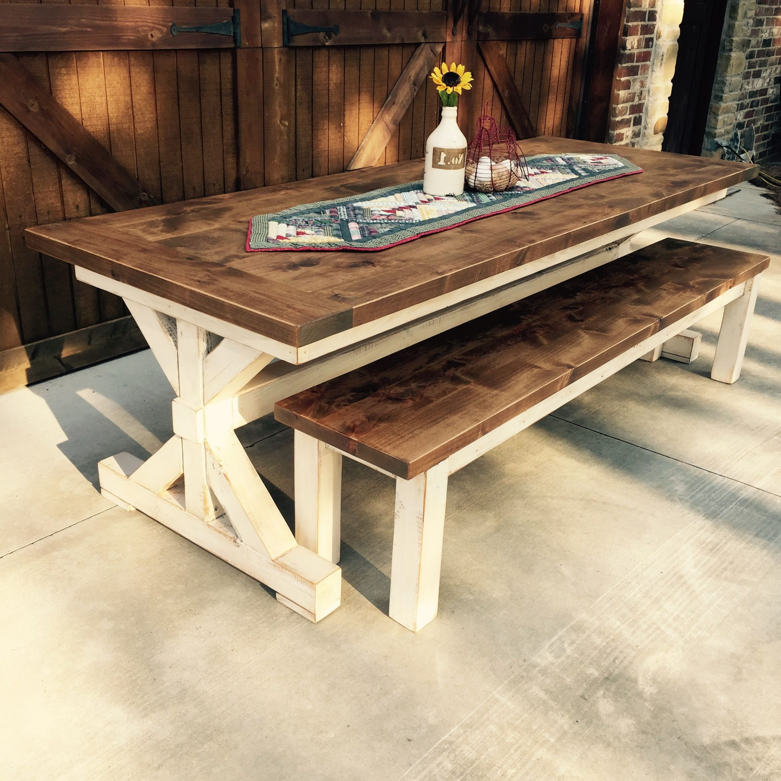Well Known Knotty Alder Farm Table And Bench Handcraftedl (View 3 of 25)
