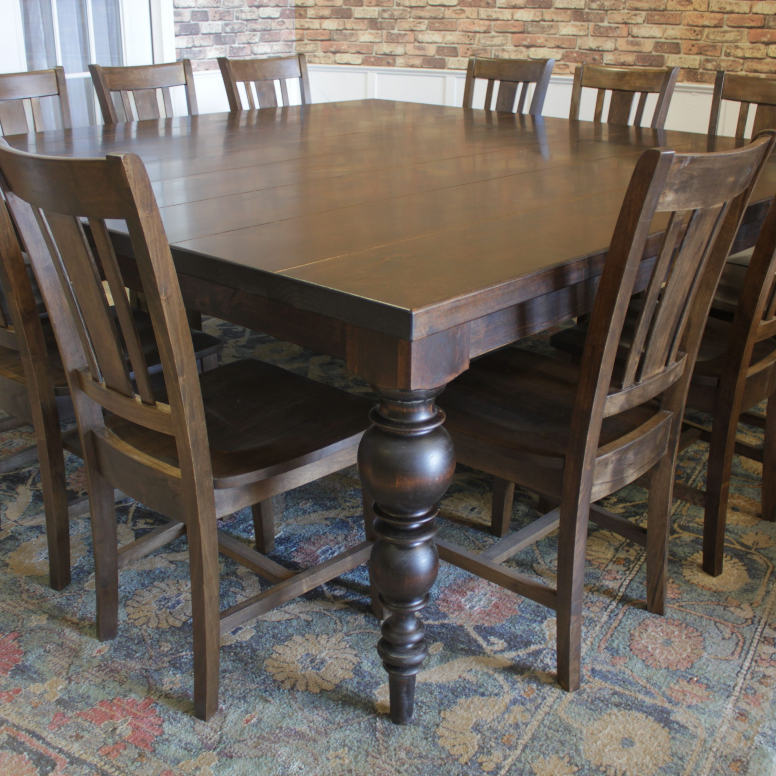Well Known Large Rustic Look Dining Tables Throughout This Large Square Dining Table For 12 Makes Entertaining (View 5 of 25)