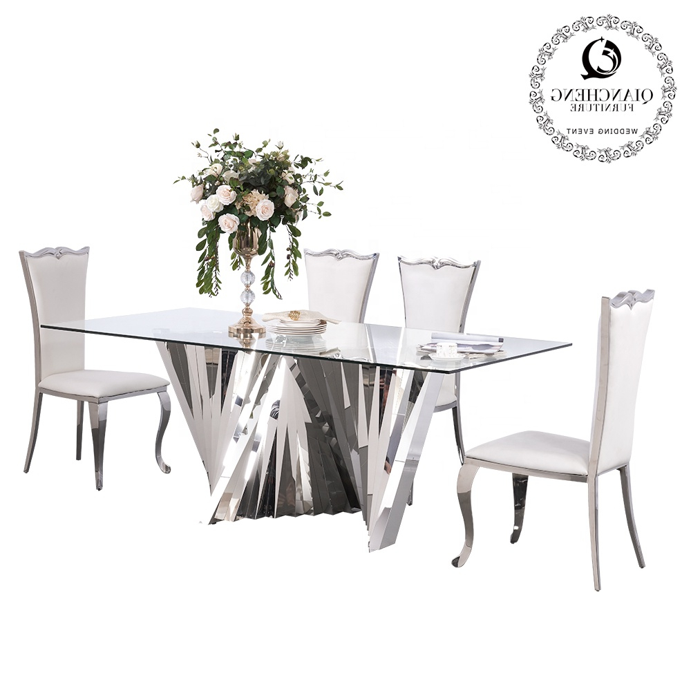 Well Known Modern Glass Top Extension Dining Tables In Stainless Inside Modern Dining Furniture Big Size Stainless Steel Base Glass Top Dining Table For Wedding And Home – Buy Modern Dining Table,wedding Dining (View 17 of 25)