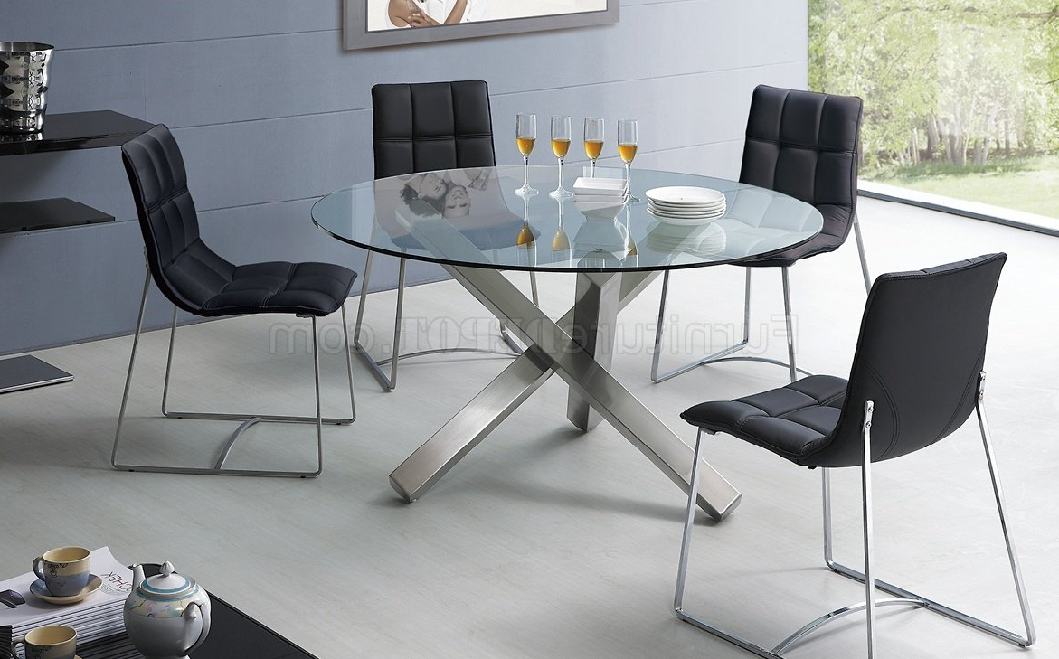 Well Known Modern Round Glass Top Dining Tables Regarding Round Dining Table With Metal Base Image Collections – Round (View 14 of 25)