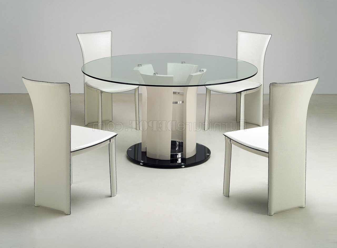 Well Known Modern Round Glass Top Dining Tables Within Clear Round Glass Top Modern Dining Table W/optional Chairs (View 3 of 25)
