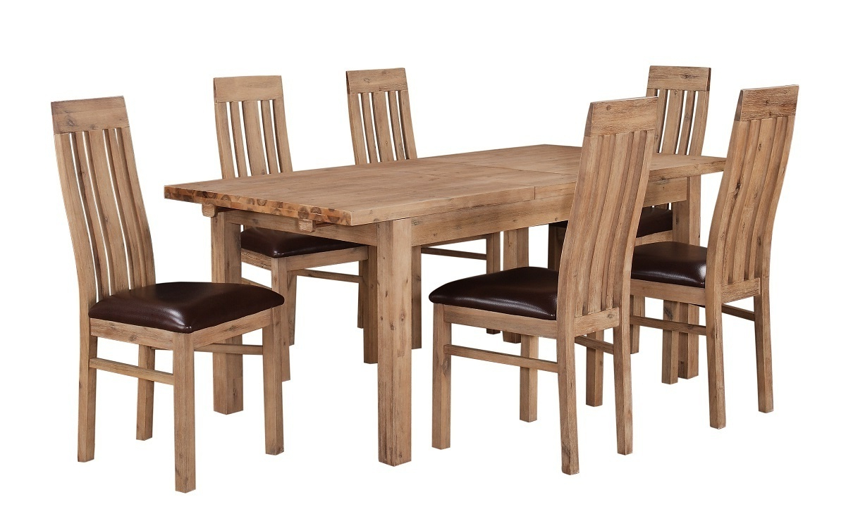 Well Known Solid Wooden Acacia Dining Room Furniture Set Intended For Solid Acacia Wood Dining Tables (View 17 of 25)