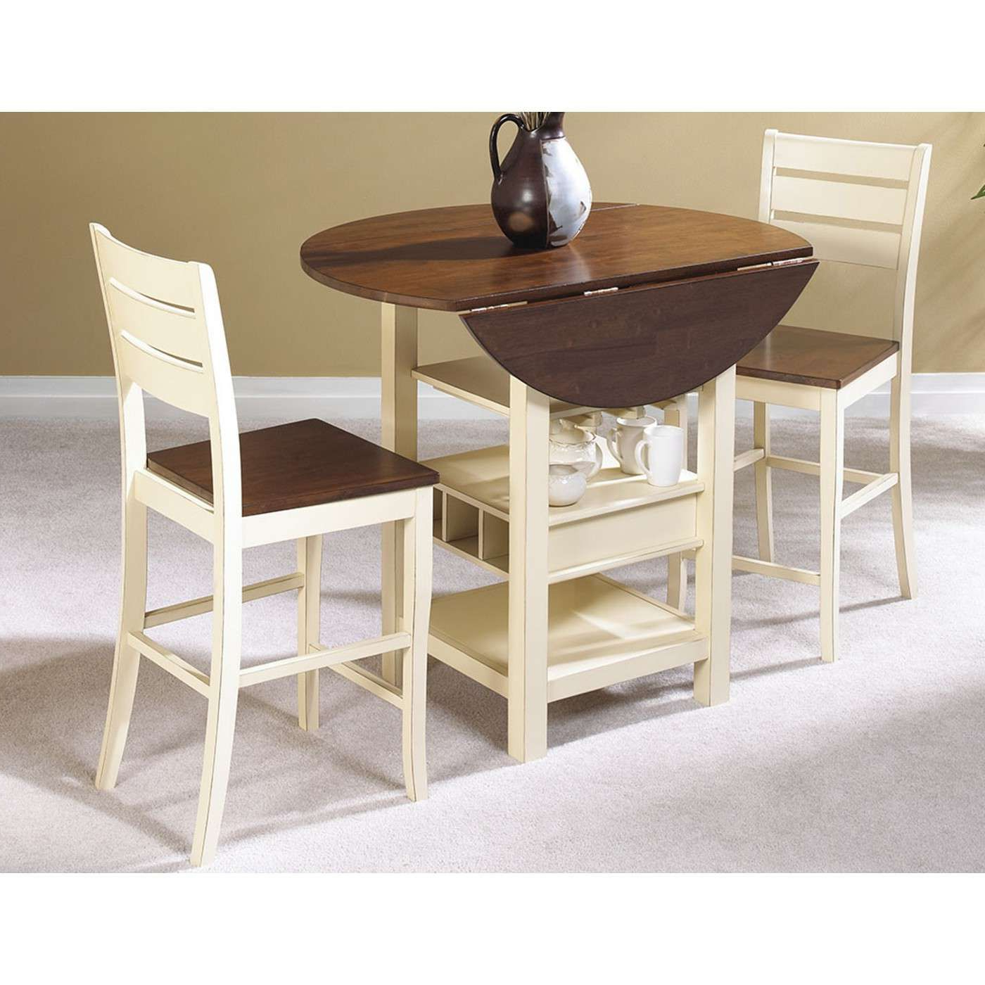 Well Known Transitional 3 Piece Drop Leaf Casual Dining Tables Set Intended For Sunset Trading Cr A7007 3Pc (View 14 of 25)