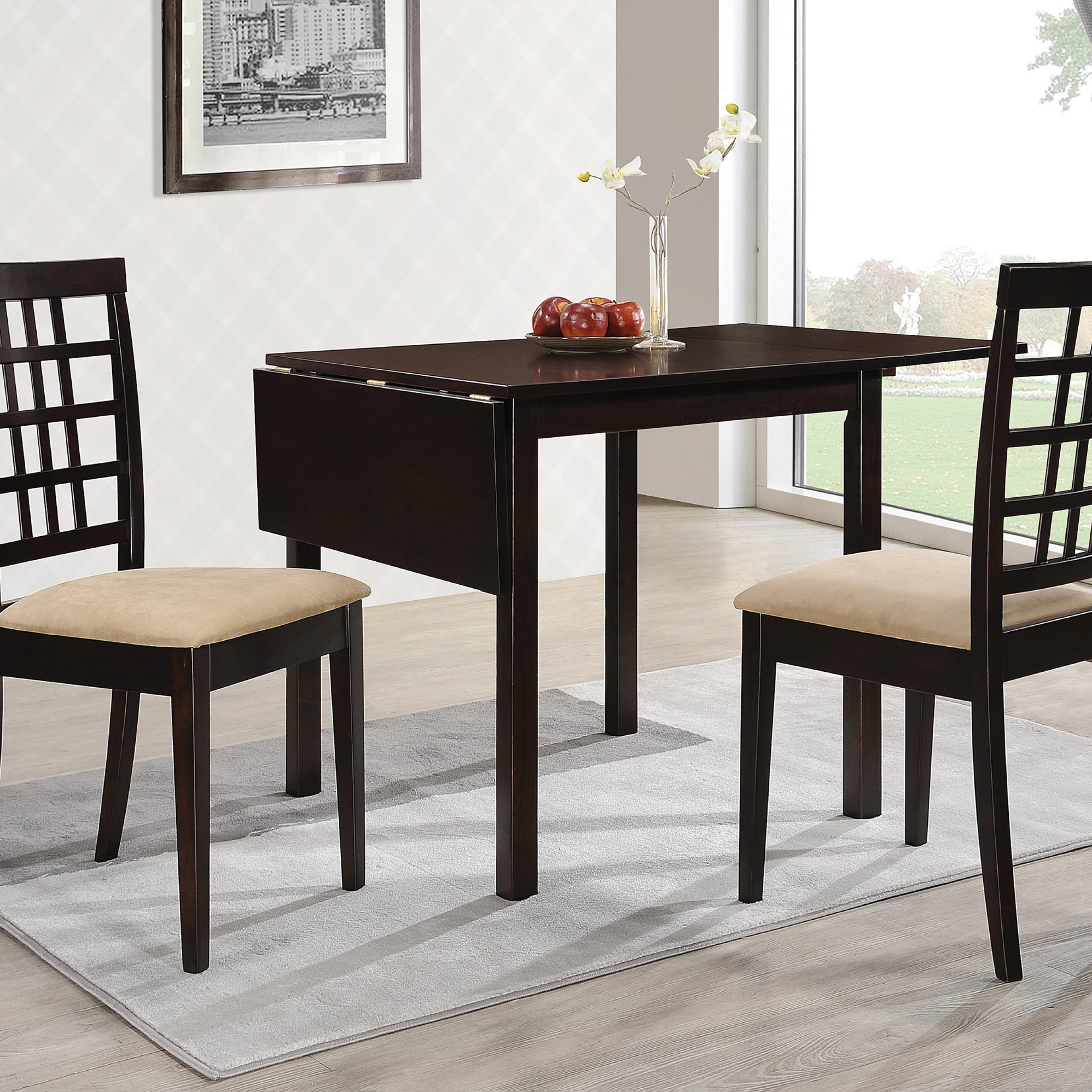 Well Known Transitional Drop Leaf Casual Dining Tables Within Kelso Rectangular Dining Table With Drop Leaf Cappuccino (View 7 of 25)