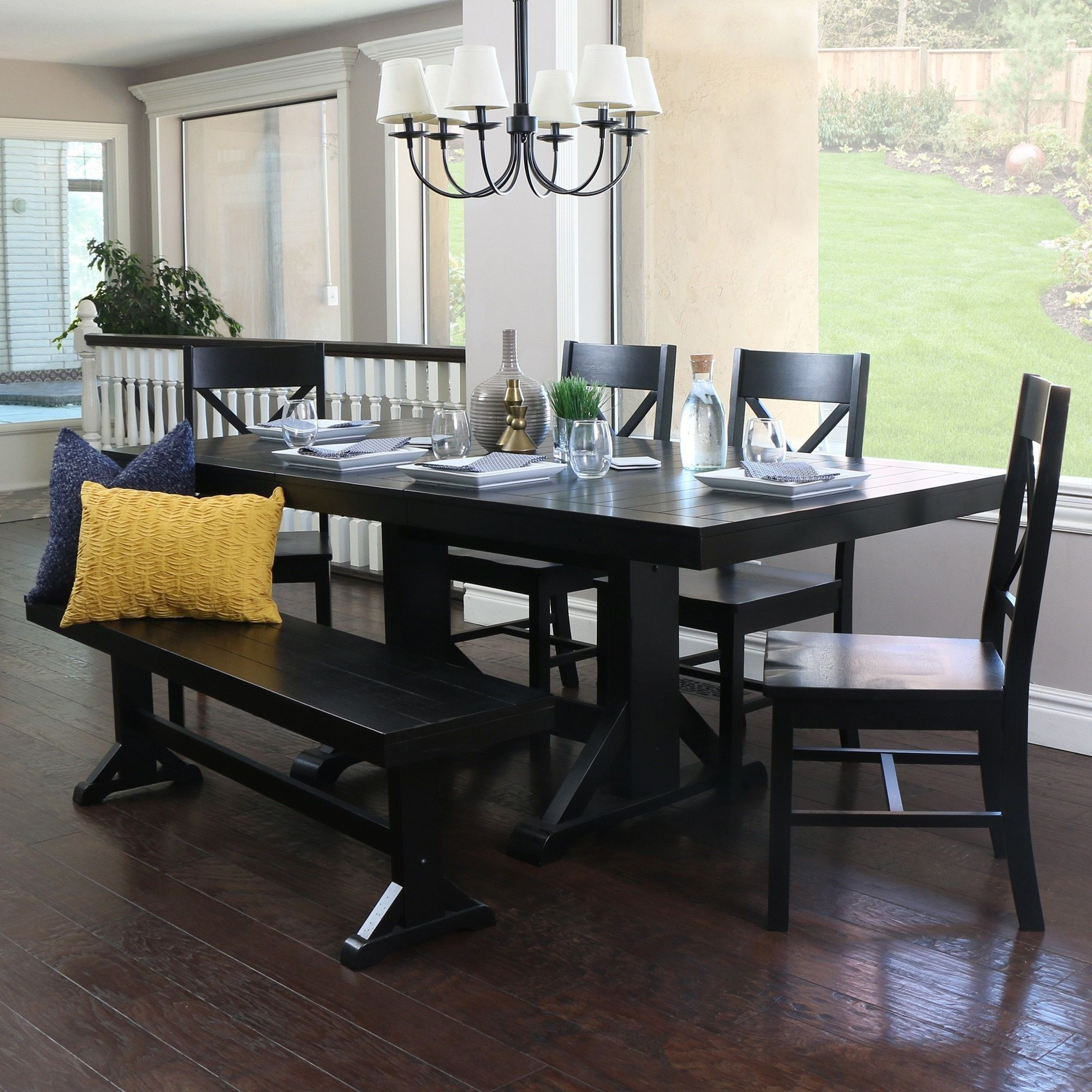 Well Known Walker Edison Countryside Chic 6 Piece Antique Black Wood For Antique Black Wood Kitchen Dining Tables (View 7 of 25)