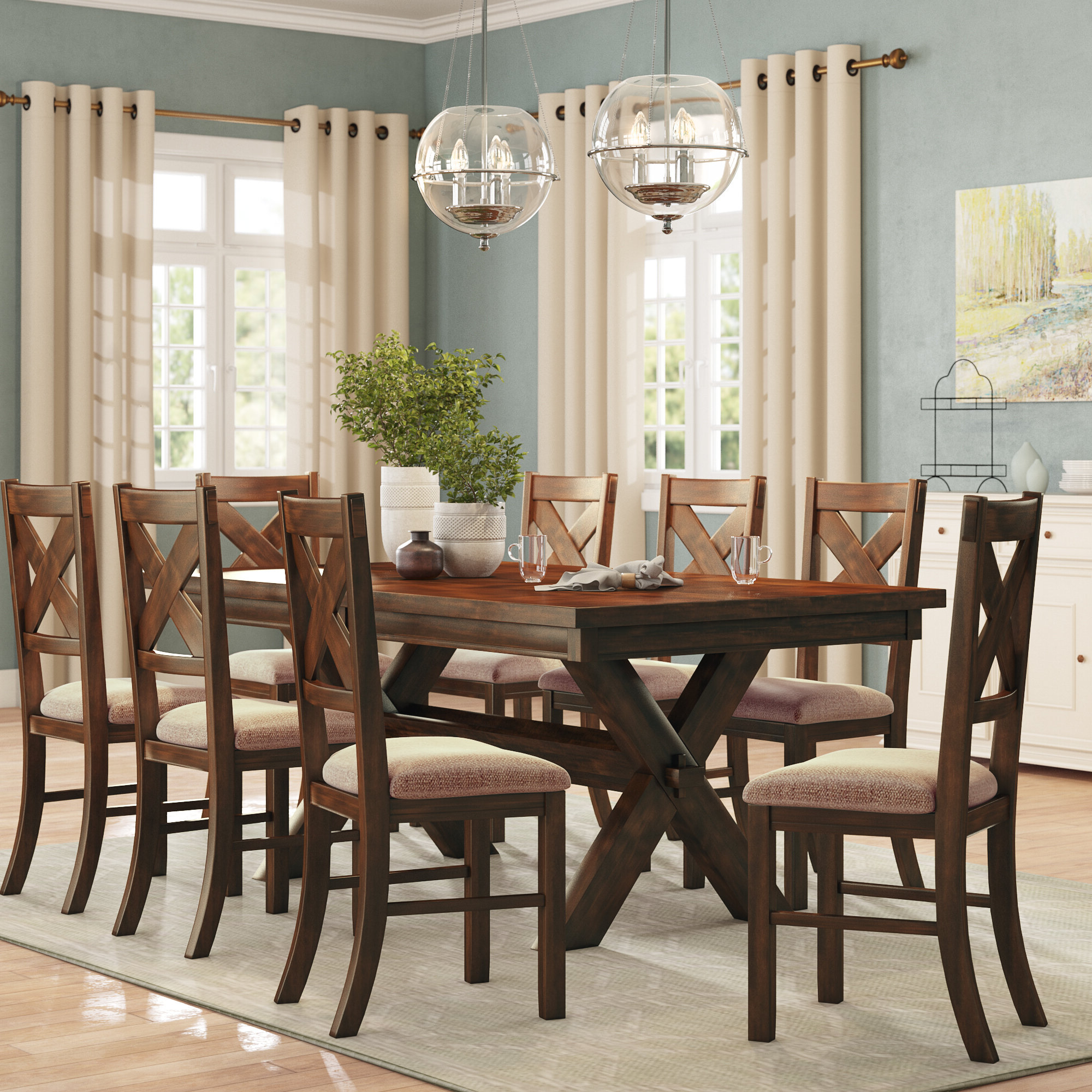 Well Liked Alcott Hill Warsaw 9 Piece Extendable Dining Set & Reviews Regarding Alamo Transitional 4 Seating Double Drop Leaf Round Casual Dining Tables (View 24 of 26)