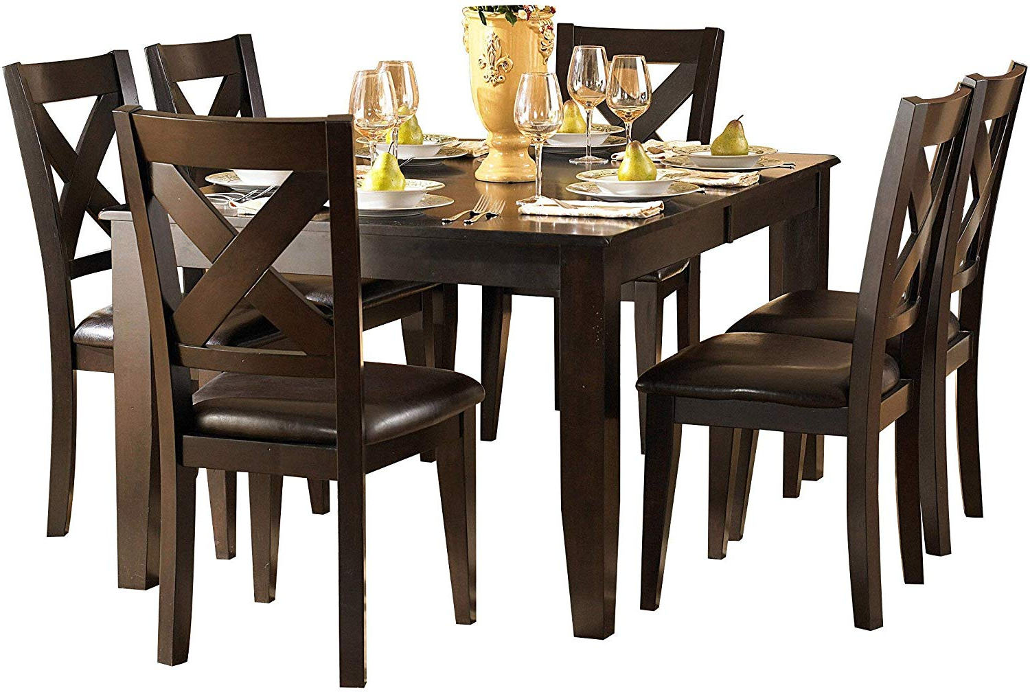 Well Liked Amazon – Creekmore Casual Modern 8Pc Dining Set Table, 6 In Artefac Contemporary Casual Dining Tables (View 2 of 25)