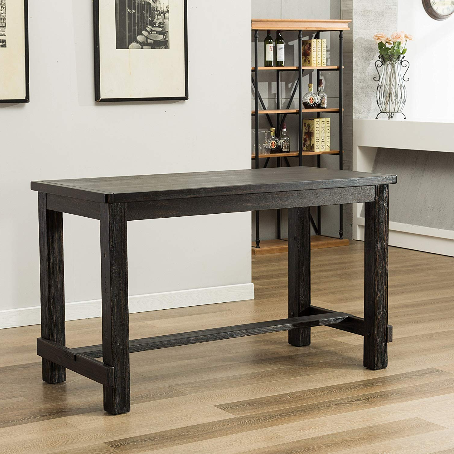 Well Liked Amazon – Roundhill Furniture Pt185Bk Lotusville Antique Inside Antique Black Wood Kitchen Dining Tables (View 25 of 25)