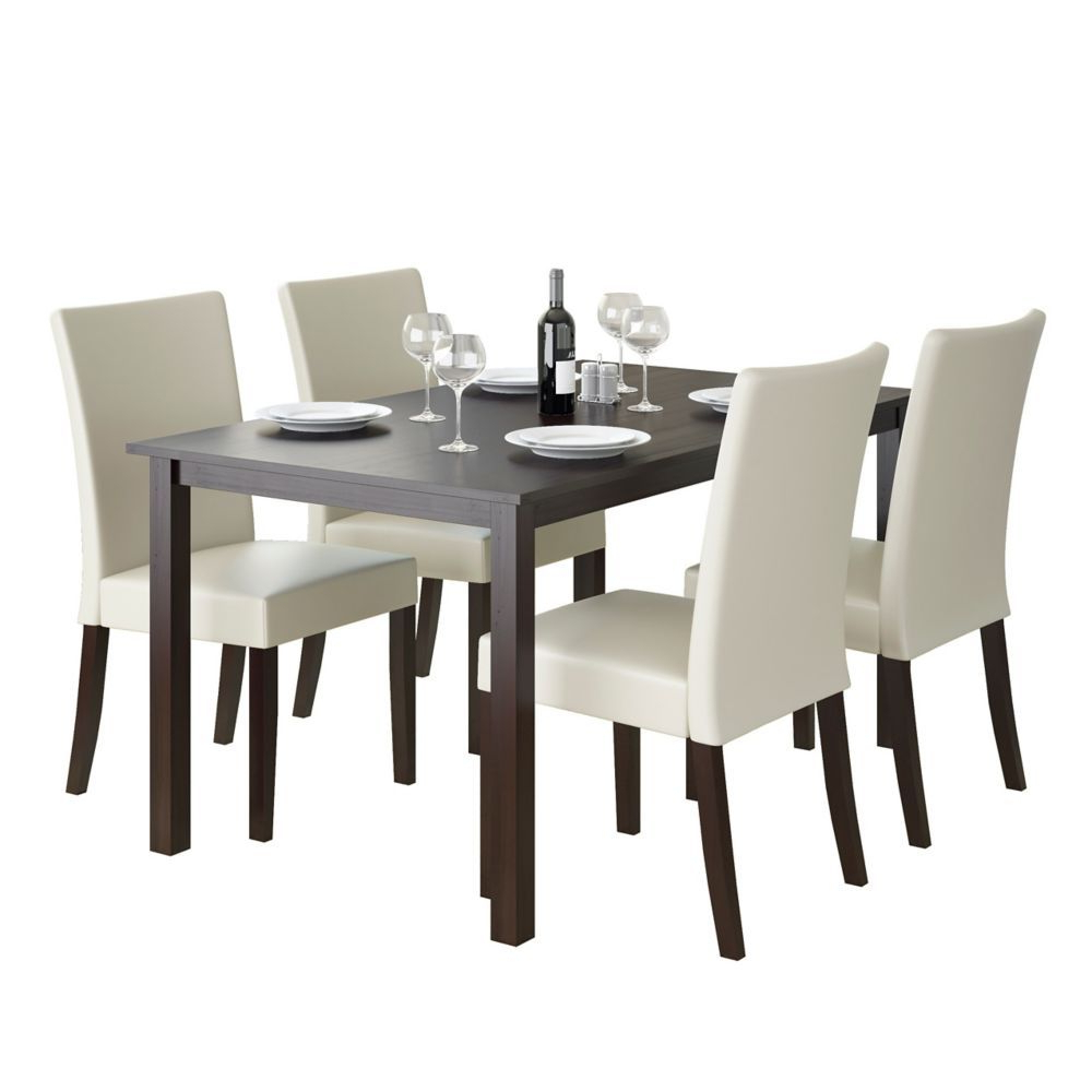 Well Liked Atwood Transitional Rectangular Dining Tables Intended For Atwood 55 Inch Dining Table In Cappuccino With 4 Cream (View 8 of 25)