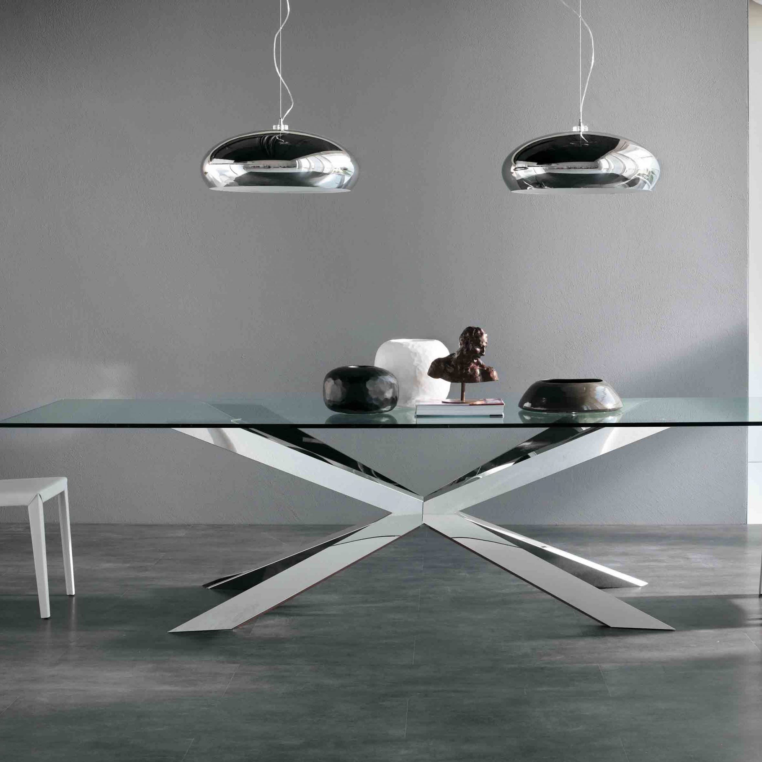 Well Liked Awesome Glass Top Dining Table Decor With X Chrome Metal With Long Dining Tables With Polished Black Stainless Steel Base (View 3 of 25)