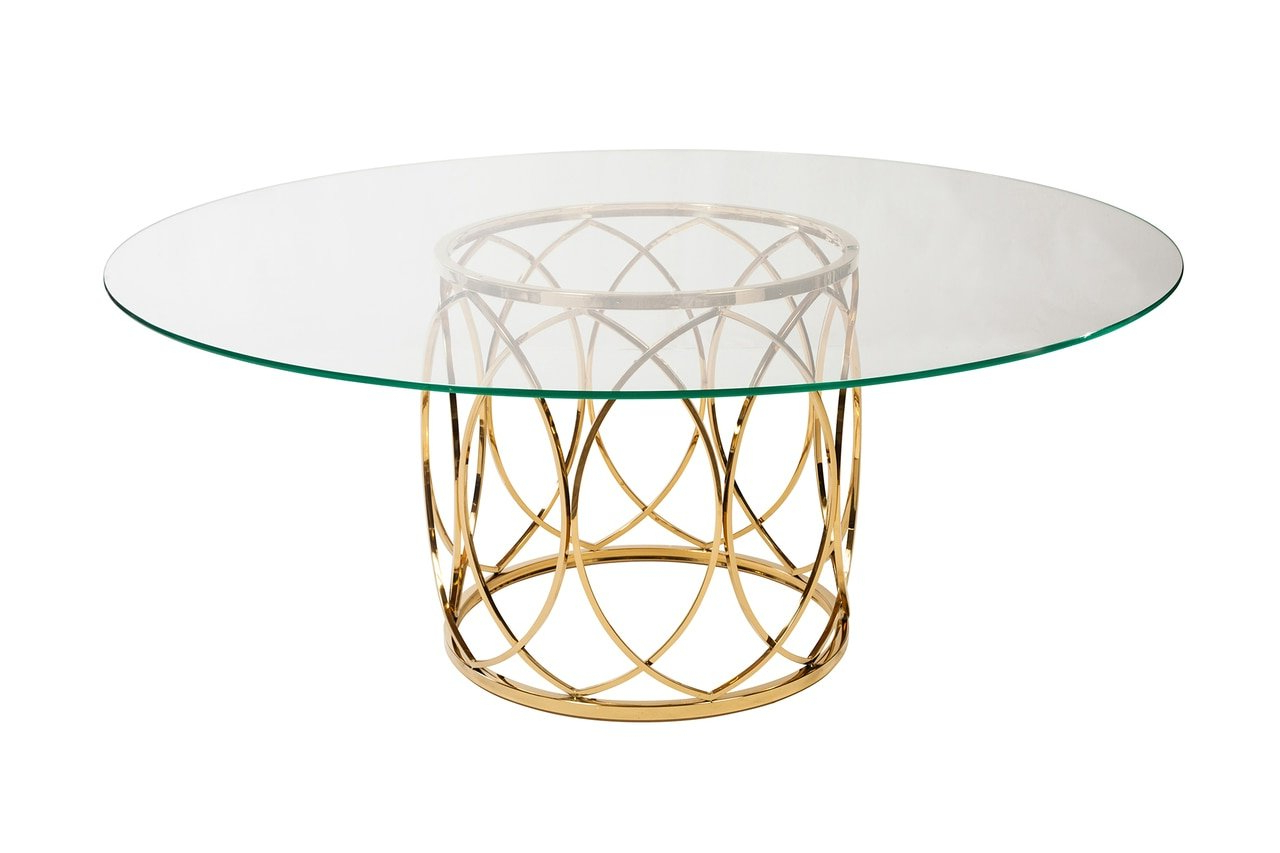 Well Liked Dining Tables With Brushed Gold Stainless Finish With Amazon – Design Tree Home Jules Brushed Gold Glass Top (View 9 of 25)