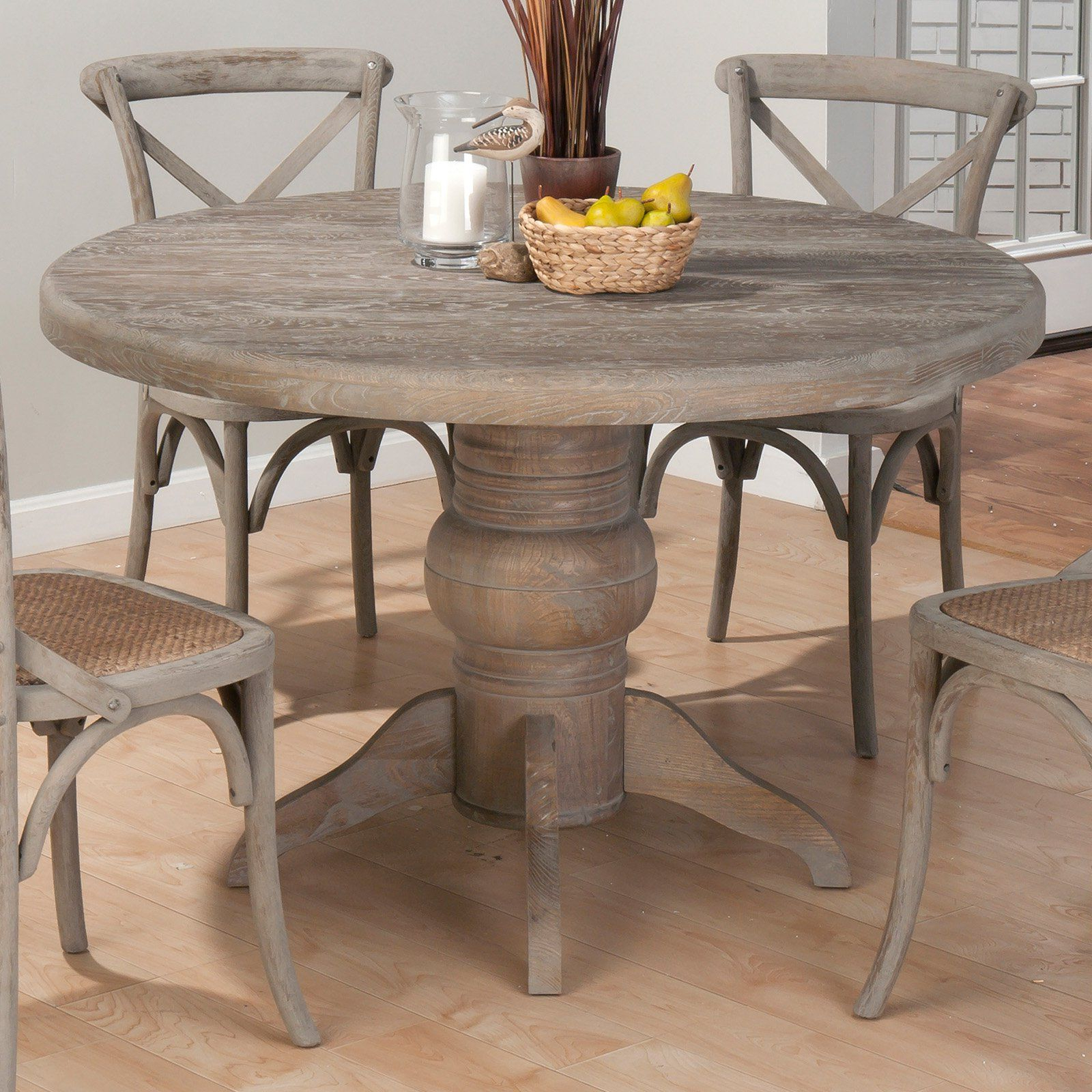 Well Liked Distressed Grey Finish Wood Classic Design Dining Tables For Jofran Booth Bay Round Pedestal Dining Table – With A (View 4 of 25)