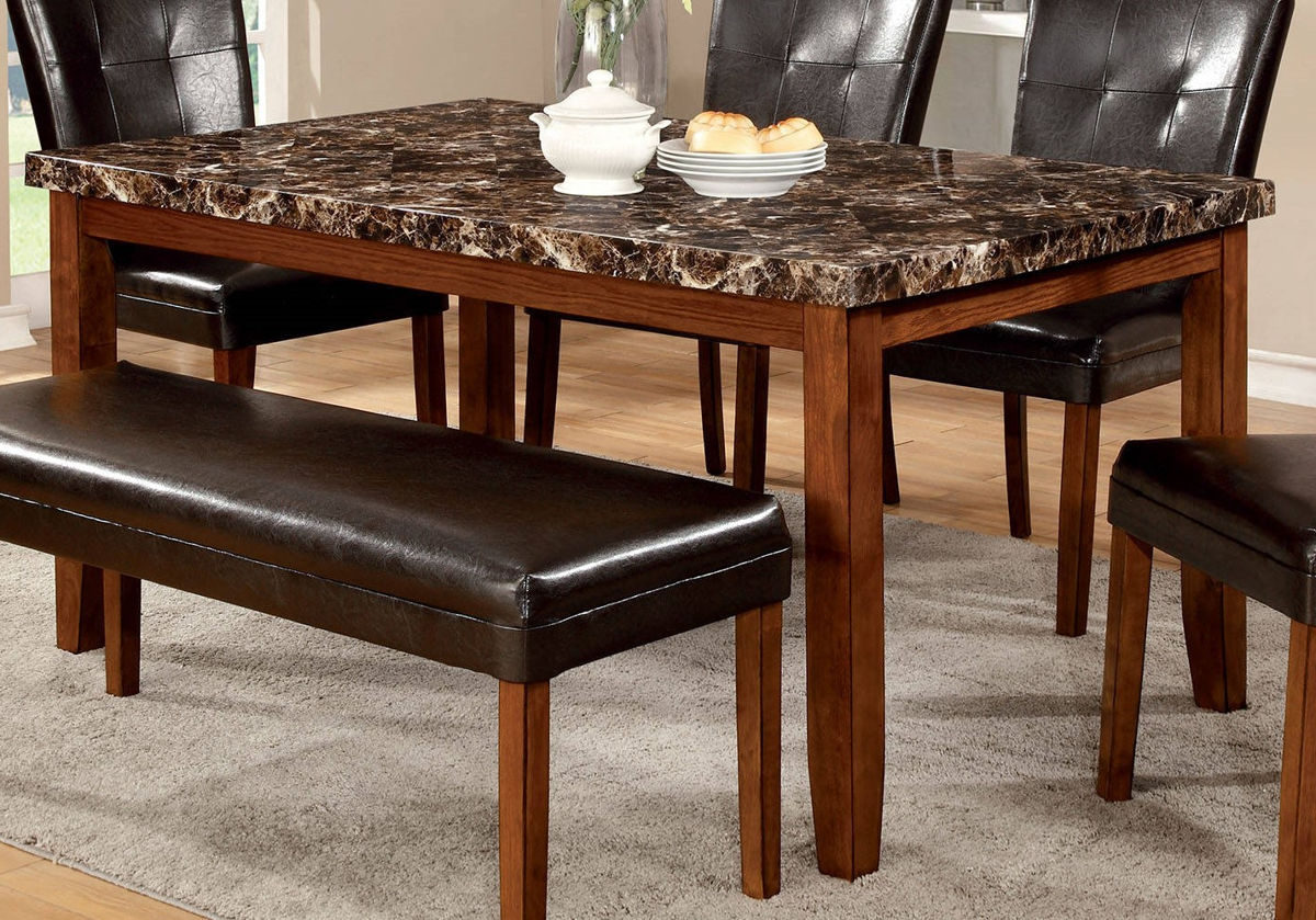 Well Liked Furniture Of America Elmore Faux Marble Top Dining Table With Regard To Wood Top Dining Tables (View 21 of 25)