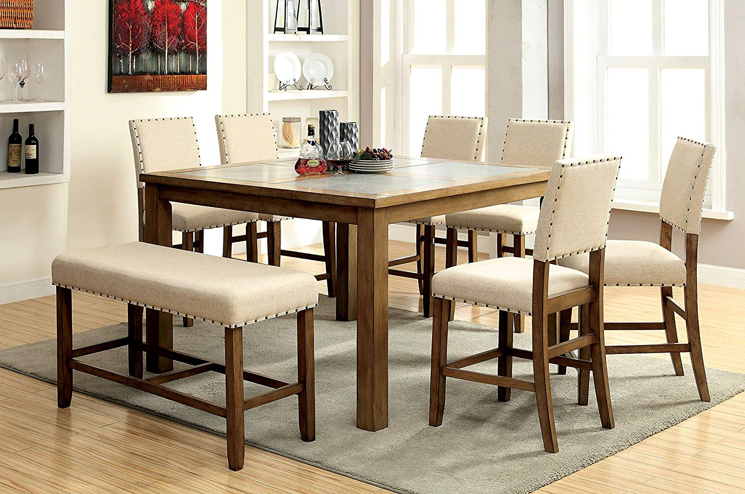 Well Liked Furniture Of America Lucena 8 Piece Transitional Pub Dining Set Within Transitional Driftwood Casual Dining Tables (View 4 of 25)