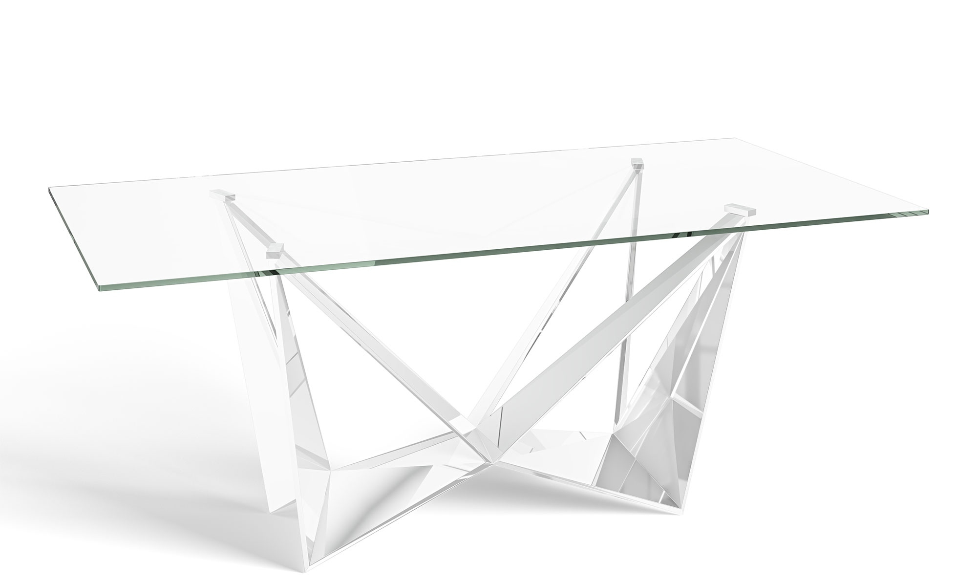 Well Liked Long Dining Tables With Polished Black Stainless Steel Base Inside Glacier – 200Cm Dining Table Glass Top Polished Stainless Steel Base (View 18 of 25)
