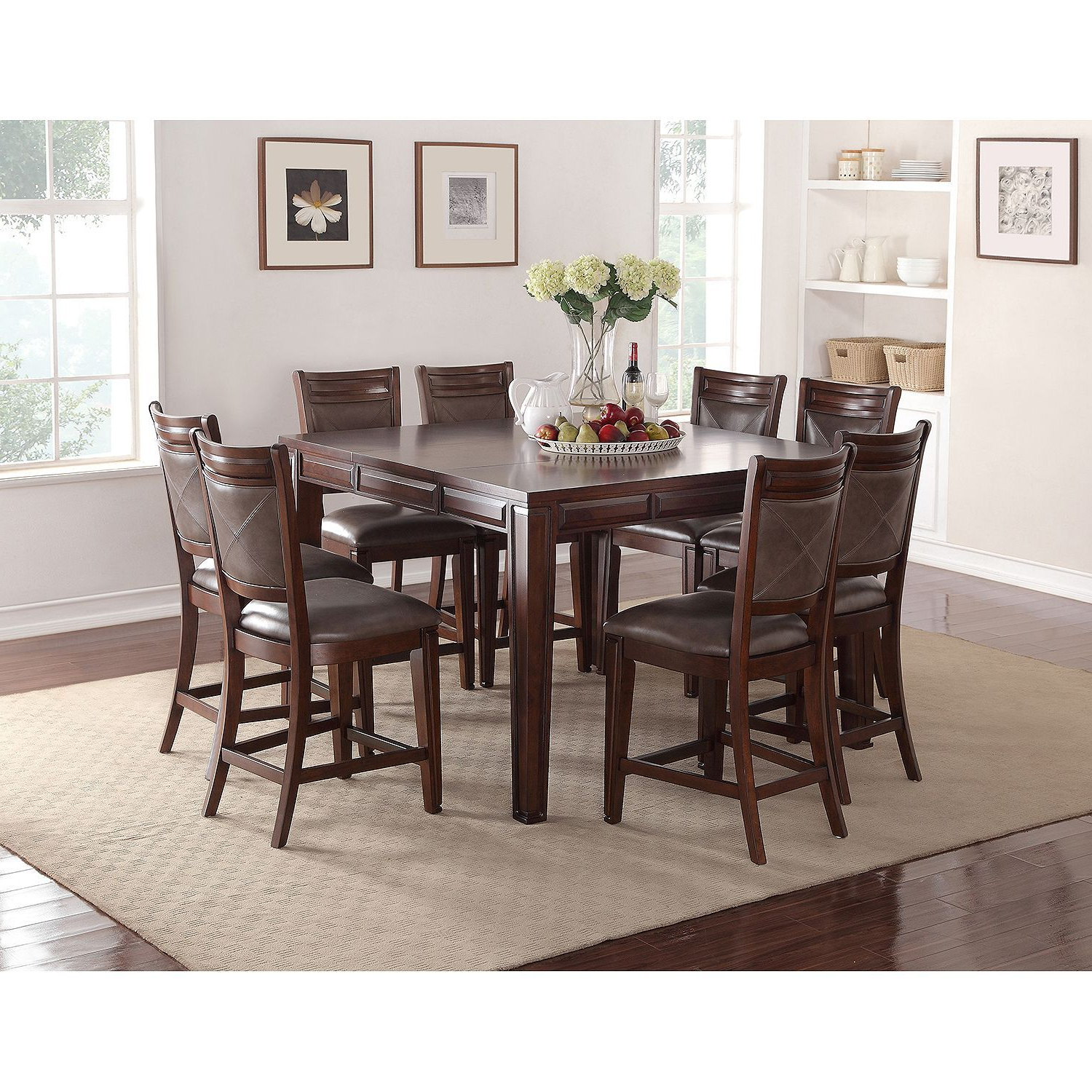 Well Liked Member's Mark Audrey Counter Height Table And Chairs, 9 In Transitional Antique Walnut Square Casual Dining Tables (View 22 of 25)