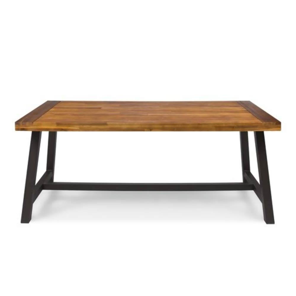 Well Liked Solid Acacia Wood Dining Tables For Amazon : 17 Stories 6 Seater Industrial Style Solid (View 2 of 25)