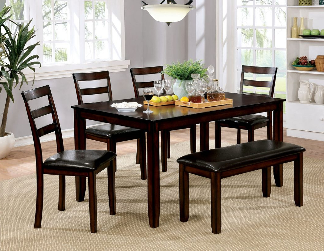 Well Liked Transitional Style 6Pc Dining Table 4 Side Chair & Bench Set Brown Cherry Finish Cushions Seat Inside Transitional 6 Seating Casual Dining Tables (View 9 of 25)