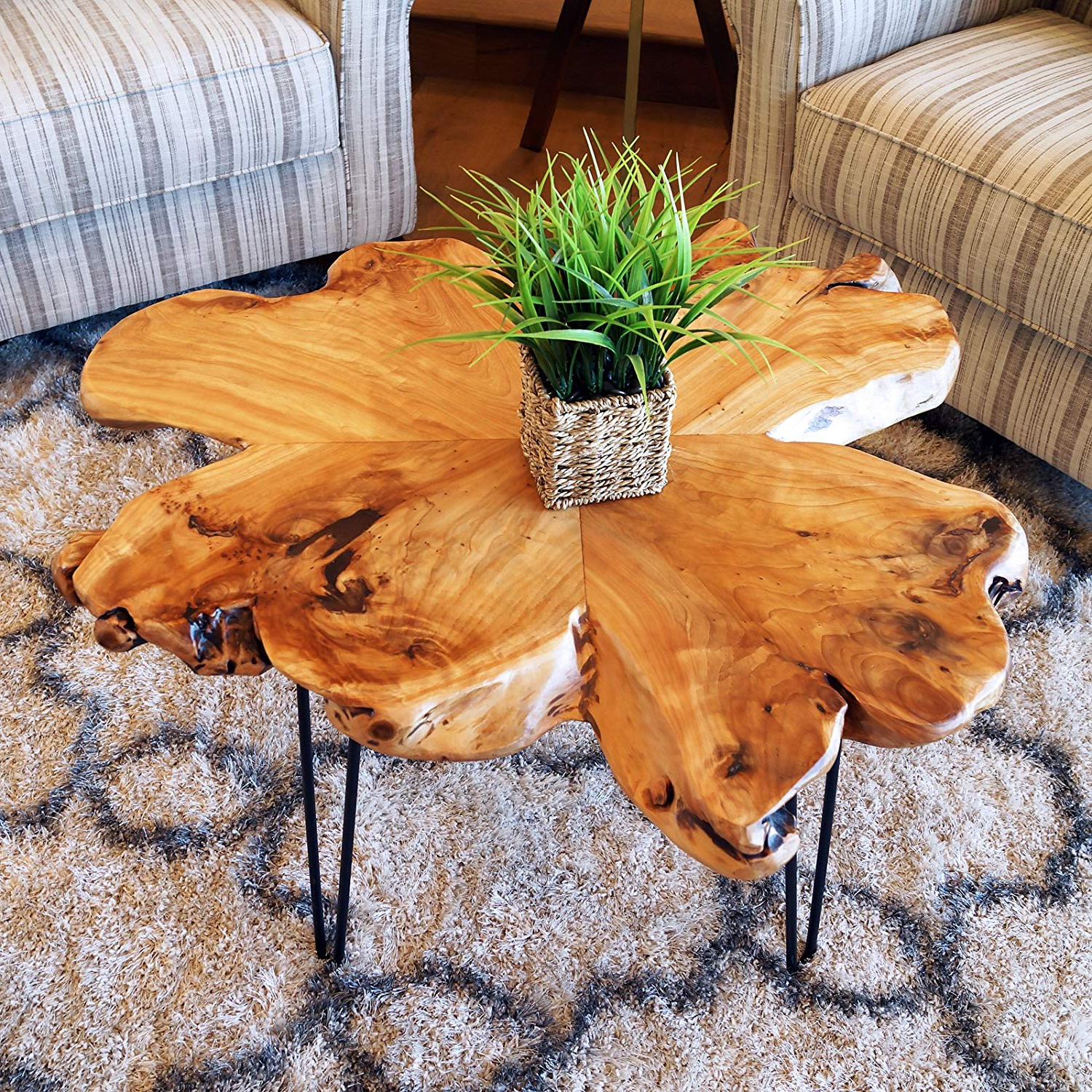 Welland Natural Edge Coffee Table, (Style D) With Regard To Current Acacia Dining Tables With Black Rocket Legs (View 15 of 25)