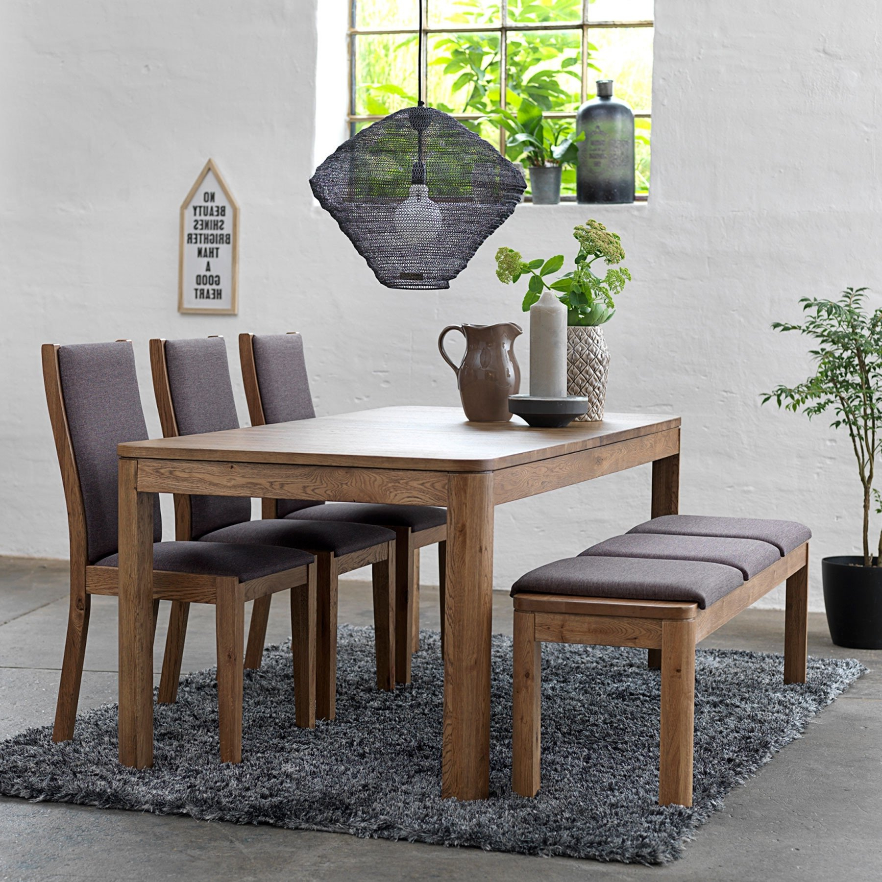 Widely Used 50+ Dining Table With Bench You'll Love In 2020 – Visual Hunt Pertaining To Thick White Marble Slab Dining Tables With Weathered Grey Finish (View 25 of 25)