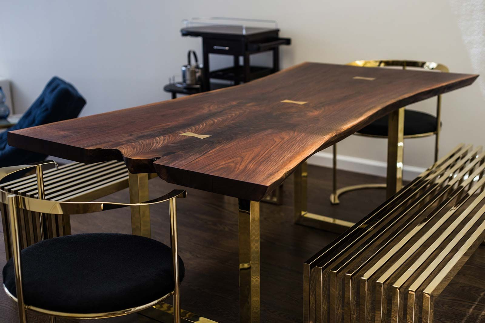 Widely Used Acacia Dining Tables With Black Victor Legs Inside Black Walnut Dining Table With Brass Bowties Live Edge Wood (View 15 of 25)