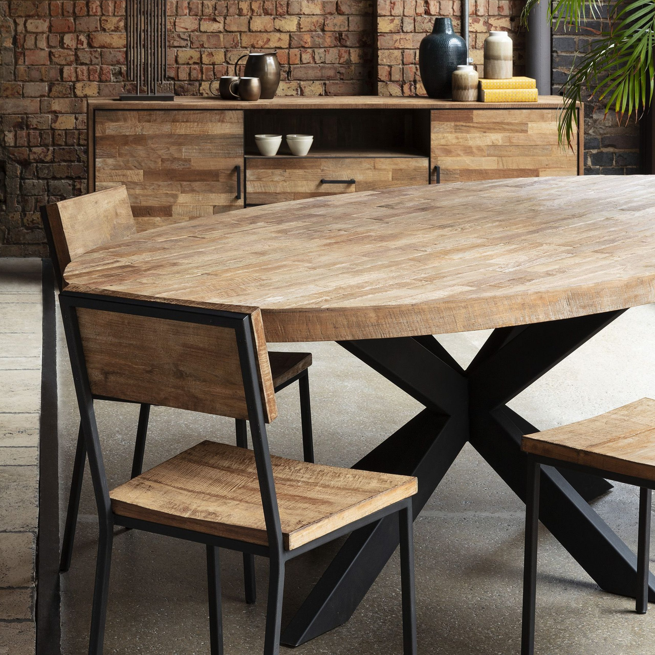 Widely Used Acacia Wood Top Dining Tables With Iron Legs On Raw Metal Within Baxter Bond Teak Oval Dining Table (View 10 of 25)