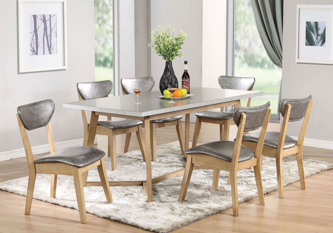 Widely Used Acme Rosetta 72010 5 Piece Dining Set In Silver Pu & White Within Faux Marble Finish Metal Contemporary Dining Tables (View 4 of 25)