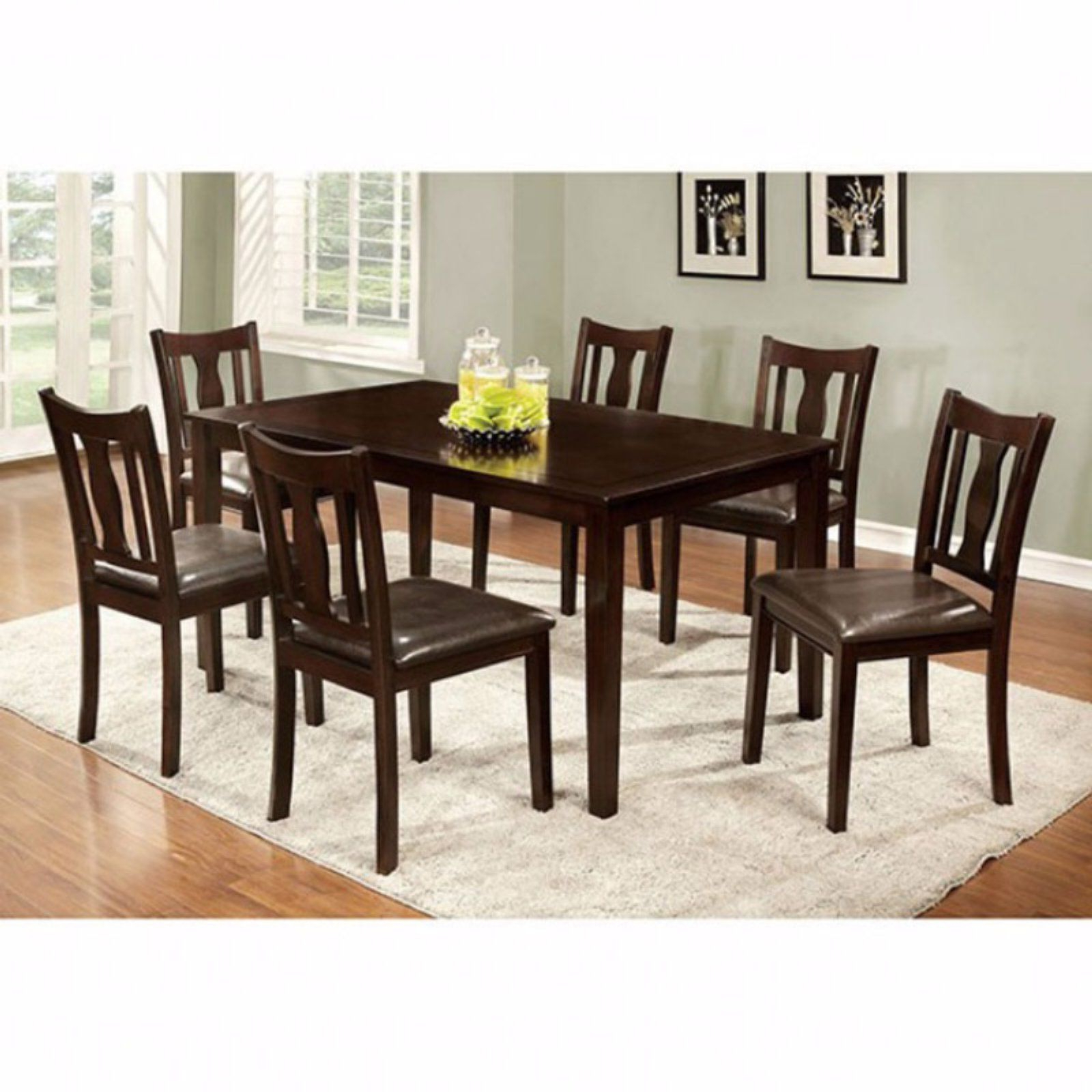 Widely Used Benzara 7 Piece Rectangular Faux Leather Dining Table Set In Inside Atwood Transitional Rectangular Dining Tables (View 9 of 25)
