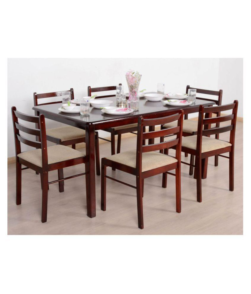 Widely Used T2A Javint Six Seater Dining Table Set – Contemporary Solid Pertaining To 6 Seater Retangular Wood Contemporary Dining Tables (View 24 of 25)