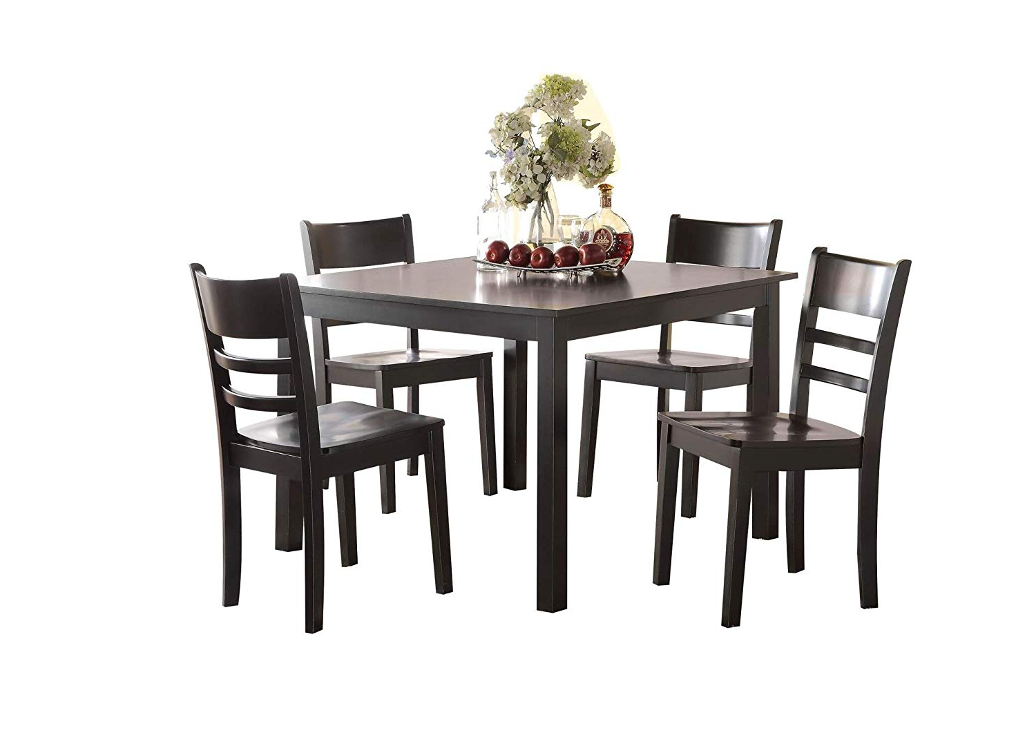 Widely Used Transitional 4 Seating Square Casual Dining Tables With Regard To Major Q 5Pc Pack Transitional Style Casual Black Finish Set With Dining Table And Ladder Backrest Side Chairs, (View 10 of 25)