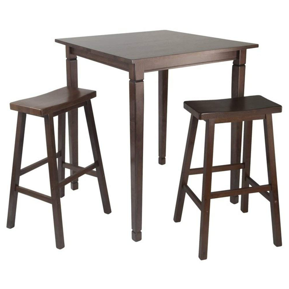 Widely Used Transitional Antique Walnut Square Casual Dining Tables Regarding Amazon: Red Barrel Studio 3 Piece Counter Height Square (View 24 of 25)