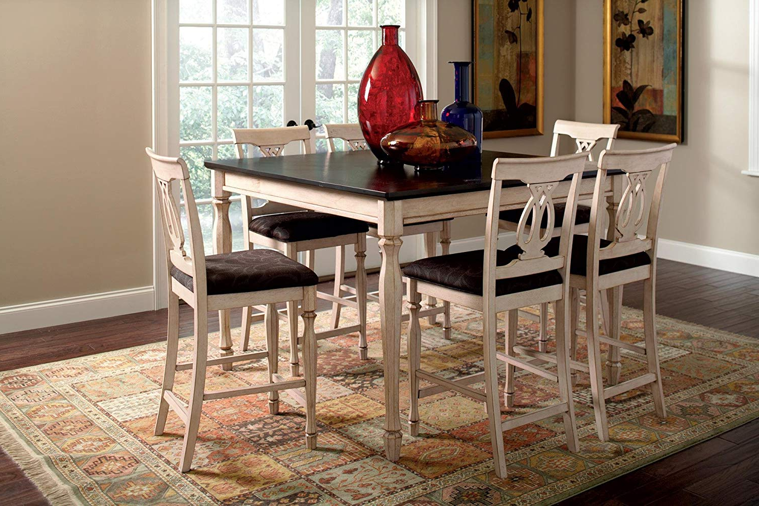 Widely Used Transitional Antique Walnut Square Casual Dining Tables With Regard To Coaster Home Furnishings Transitional Counter Height Table, Antique White  And Merlot (View 25 of 25)