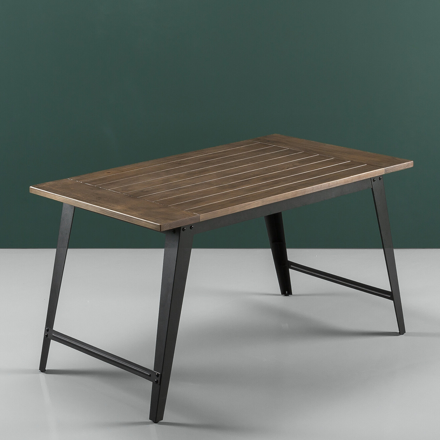 Williston Forge Carle Wood And Metal Dining Table & Reviews Throughout Well Known Acacia Wood Top Dining Tables With Iron Legs On Raw Metal (View 25 of 25)