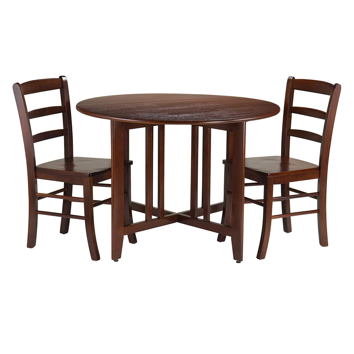 Winsome 3 Piece Alamo Round Drop Leaf Table With 2 Ladder Back Chairs, Brown With Regard To Widely Used Transitional Antique Walnut Drop Leaf Casual Dining Tables (View 19 of 25)