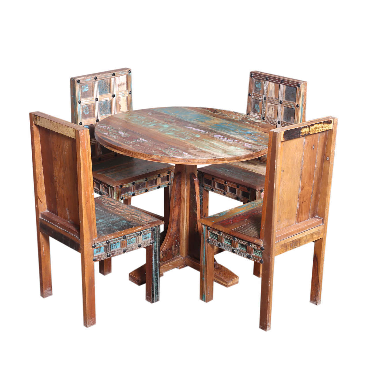Woburn Rustic Trestle Base Round Reclaimed Wood Dining Table Set Intended For Current Small Round Dining Tables With Reclaimed Wood (View 16 of 25)
