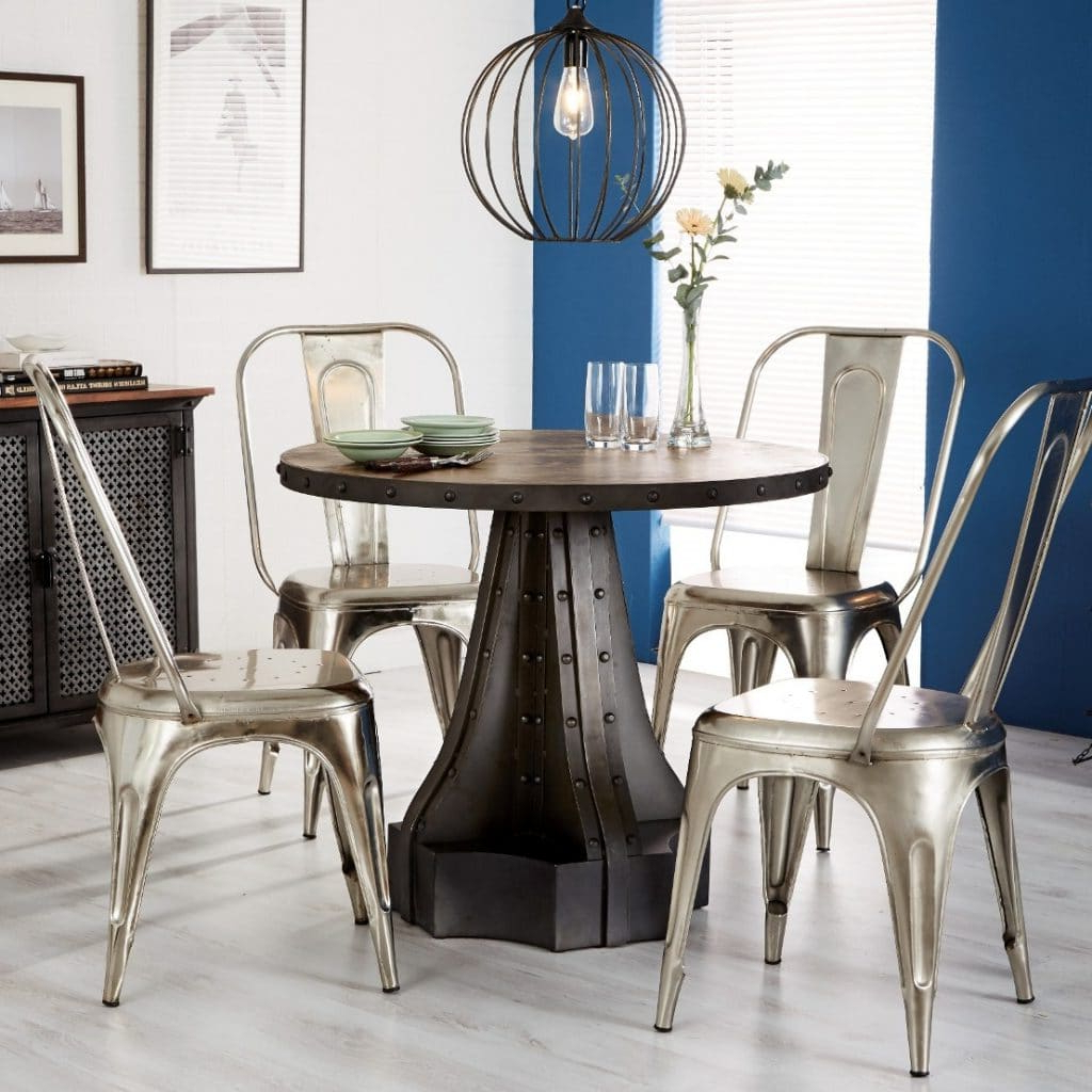 Wood Top Dining Tables For Best And Newest Telford Industrial Round Dining Table (View 25 of 25)