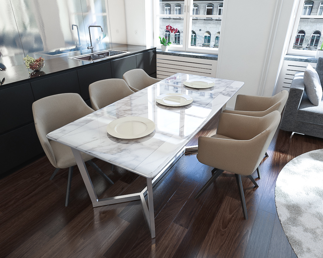 Wood Top Dining Tables For Most Up To Date Napoli Marble Top Dining Table (View 4 of 25)