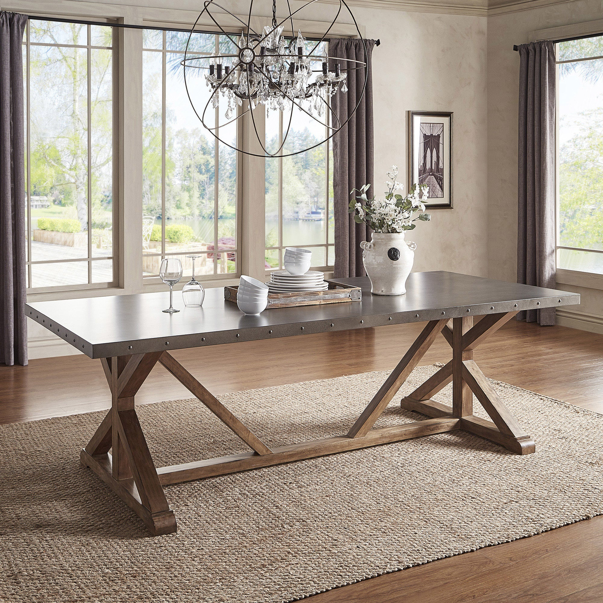 Wood Top Dining Tables With Regard To Well Known Albee Rectangular Stainless Steel Top Dining Table With Poplar X Base Inspire Q Artisan – Grey (View 18 of 25)