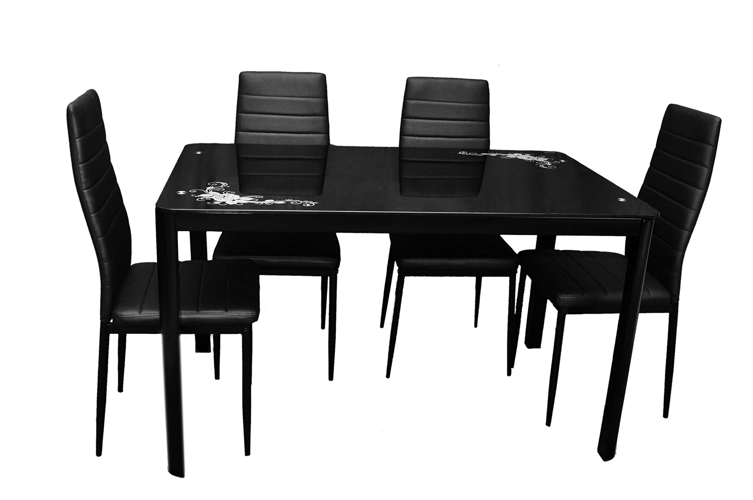 Zena Metal And Glass Dining Table Set, With 4 Chairs, Black 130 Cm X 80 Cm X 74 Cm With Regard To Trendy Glass Dining Tables With Metal Legs (View 16 of 25)