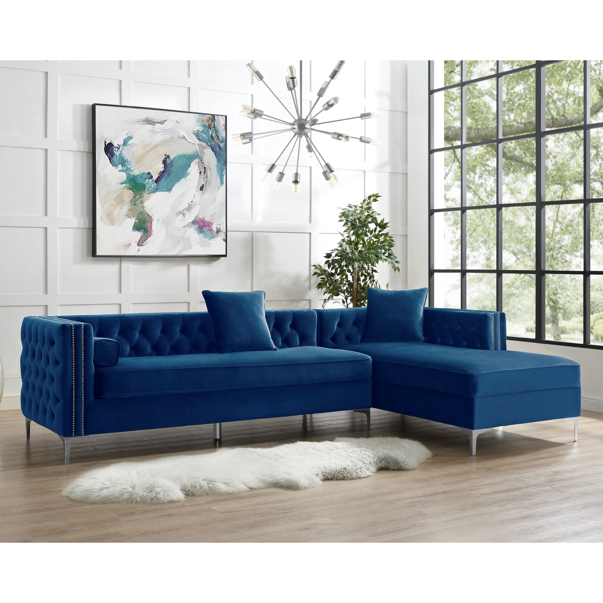 """115"""" Dante Velvet Button Tufted Left Facing Chaise Intended For Famous Monet Right Facing Sectional Sofas (View 1 of 25)"""