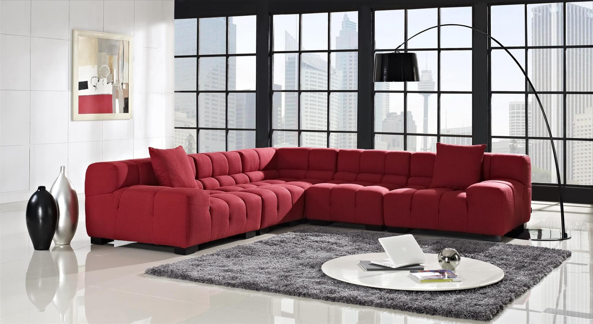 18 Stylish Modern Red Sectional Sofas With 2017 Mireille Modern And Contemporary Fabric Upholstered Sectional Sofas (View 13 of 25)
