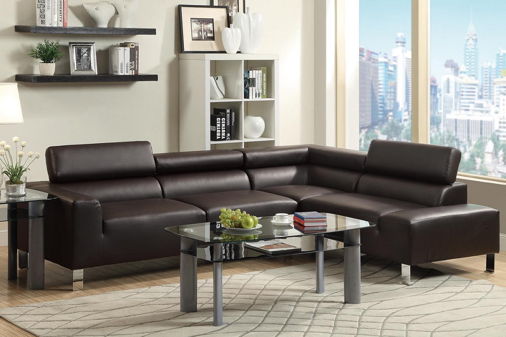 2017 3Pc Bonded Leather Upholstered Wooden Sectional Sofas Brown Regarding Alpha Lux Ii Espresso Bonded Leather Modern Sofa Sectional (View 13 of 25)