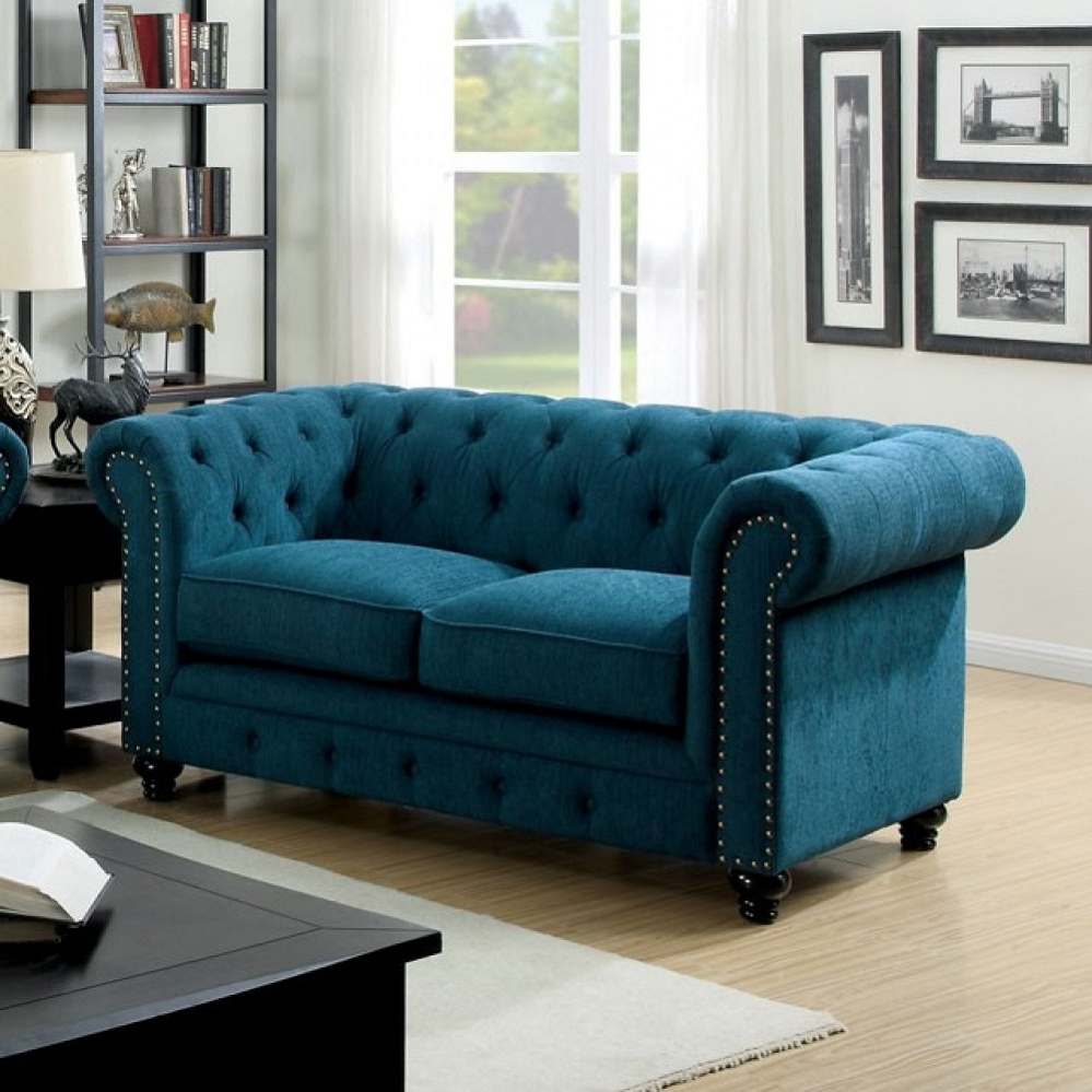 2017 3Pc Polyfiber Sectional Sofas With Nail Head Trim Blue/Gray For Stanford Dark Teal Fabric Loveseat (View 5 of 25)