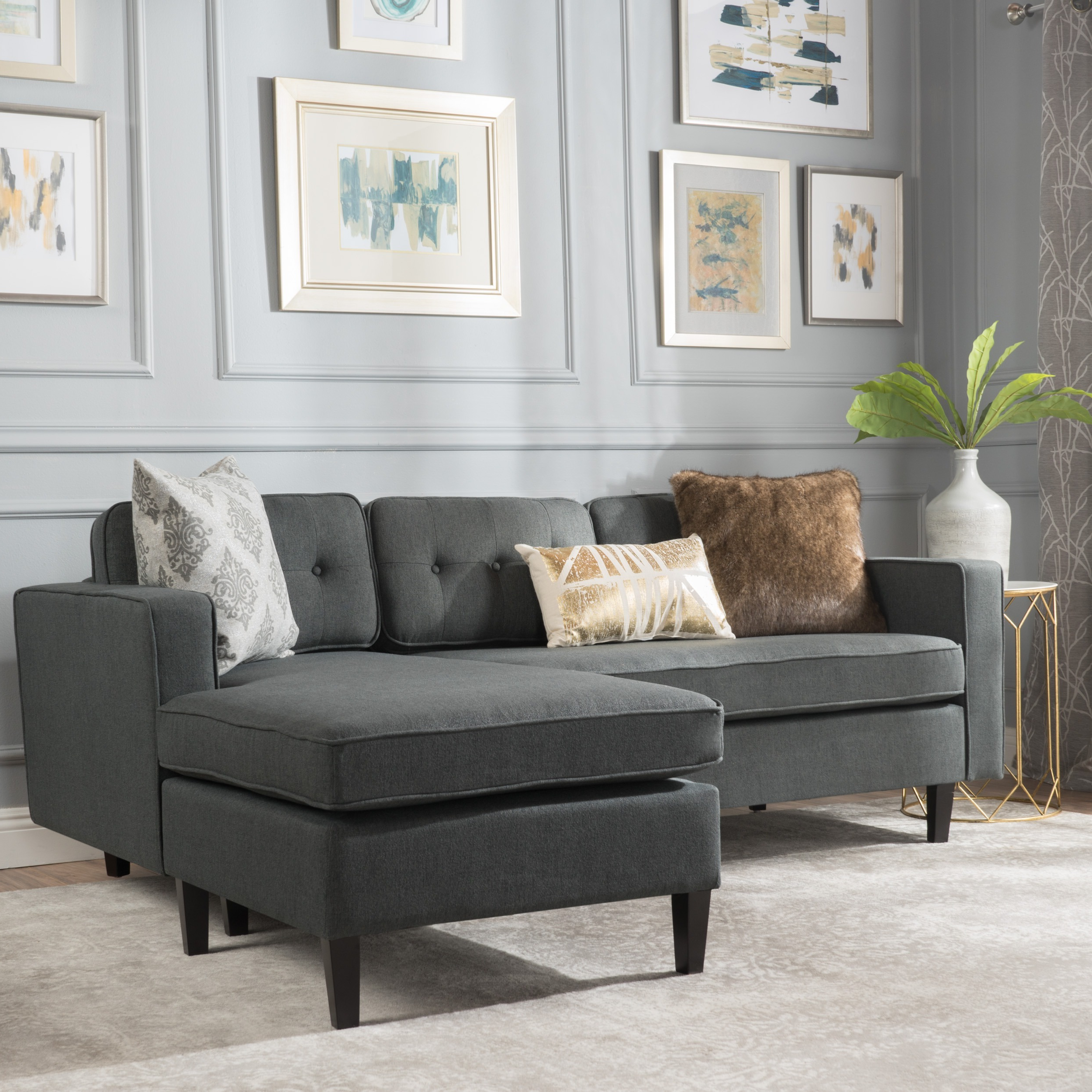 2017 Alani Mid Century Modern Sectional Sofas With Chaise Pertaining To Christopher Knight Home Wilder Mid Century Modern 2 Piece (View 1 of 25)