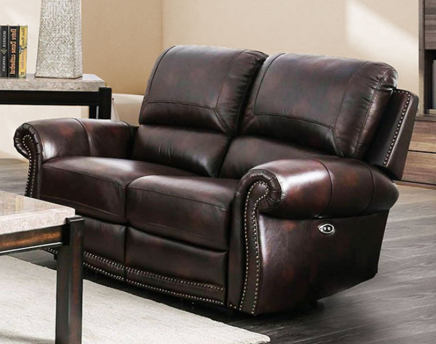 2017 Brown Genuine Leather Power Reclining Sofa & Loveseat Nail In Nolan Leather Power Reclining Sofas (View 2 of 15)