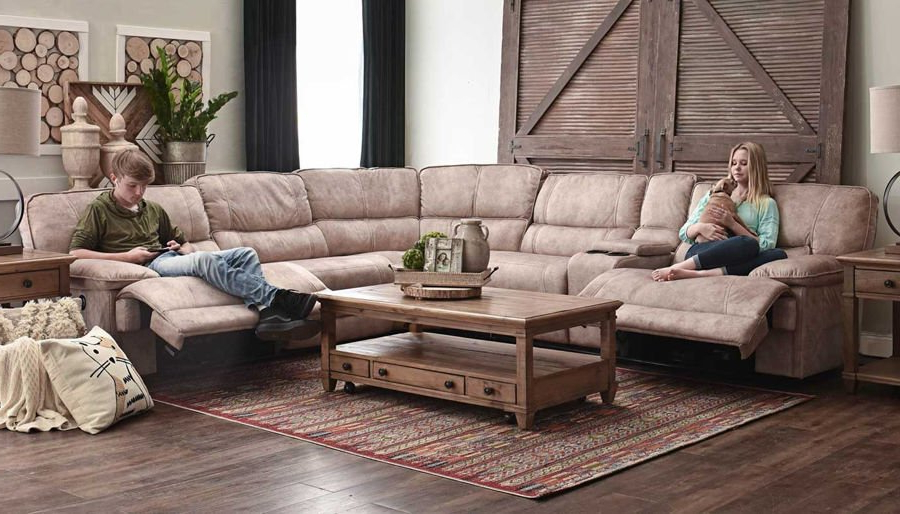 2017 Forte Gray Power Reclining Sofas Throughout Kennedy Ii Brown Power Sectional – Home Zone Furniture (View 14 of 15)