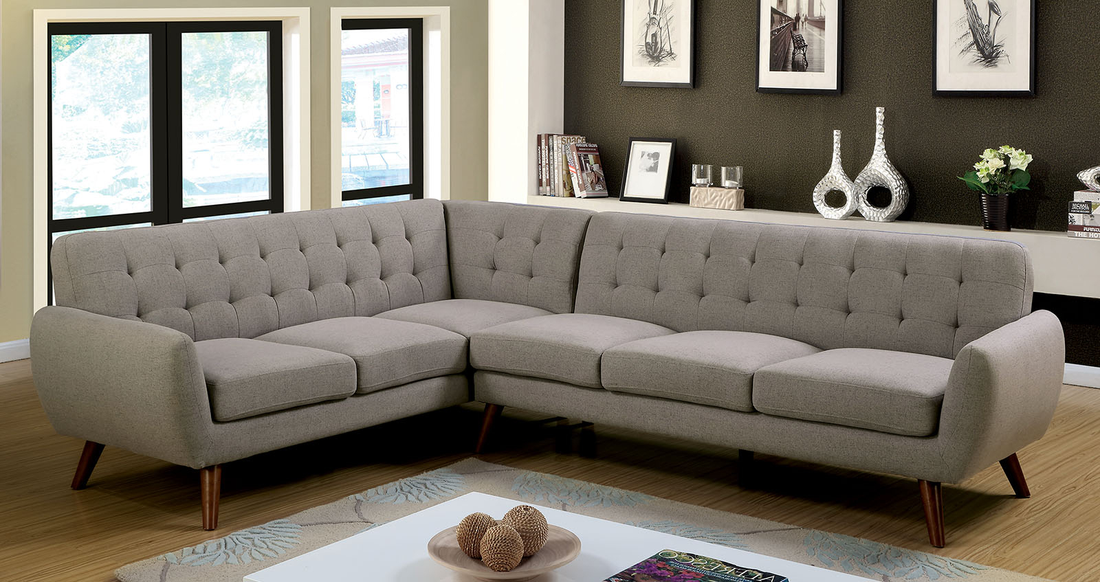 2017 Furniture Of America 6144 Gray Mid Century Modern Pertaining To Mireille Modern And Contemporary Fabric Upholstered Sectional Sofas (View 12 of 25)