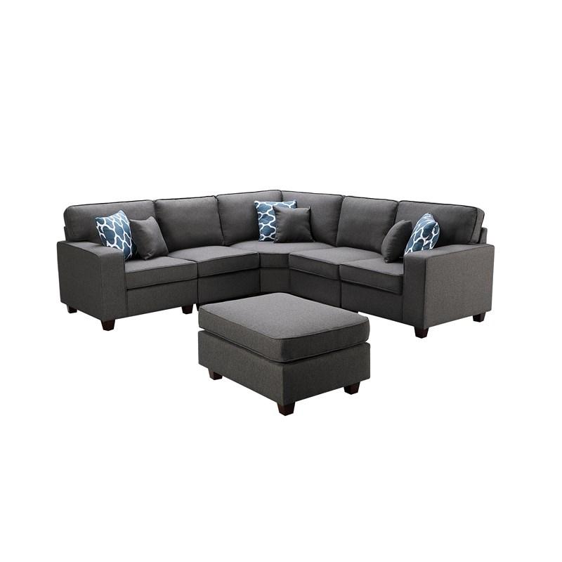 2017 Sonoma Dark Gray Fabric 6Pc Modular Sectional Sofa And Inside Dream Navy 3 Piece Modular Sofas (View 14 of 15)