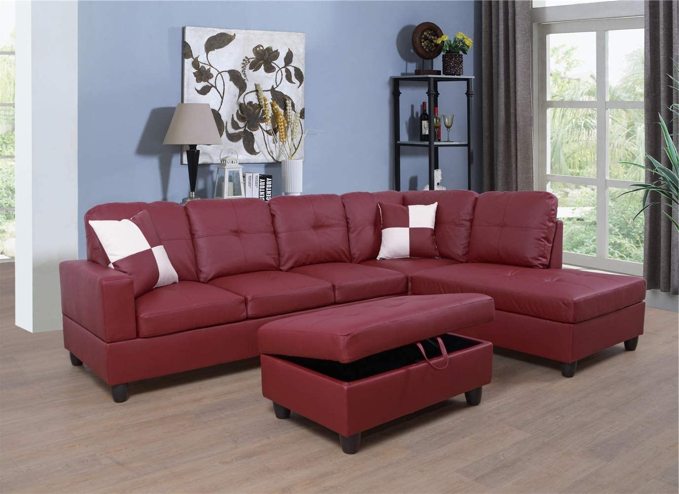2018 3Pc Faux Leather Sectional Sofas Brown In Ponliving Faux Leather 3 Piece Sectional Sofa Couch Set, L (View 4 of 25)